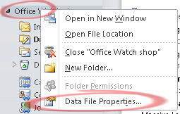 Outlook data file properties menu image from How big is your Outlook? at Office-Watch.com