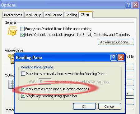 Outlook - mark item when selection changes image from How do you manage your Inbox at Office-Watch.com