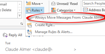 Outlook - sender rule default image from What