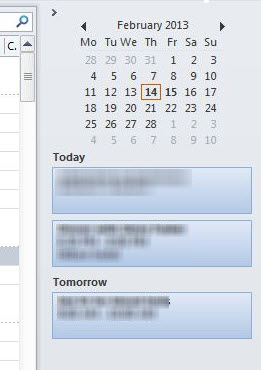 Outlook 2010 To-Do bar image from Outlook 2013 To Do bar limitations at Office-Watch.com