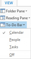 Outlook 2013 to Do bar settings image from Outlook 2013 To Do bar limitations at Office-Watch.com