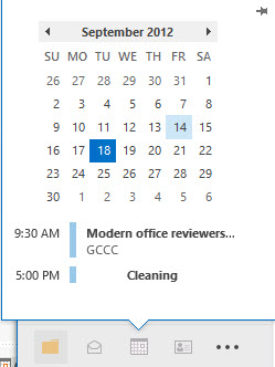 Outlook 2013 calendar peek image from Office 2013 not ready for a tablet at Office-Watch.com