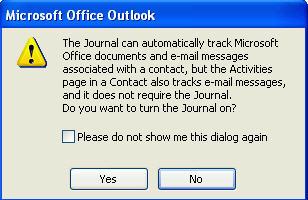 Outlook Journal opening screen image from What