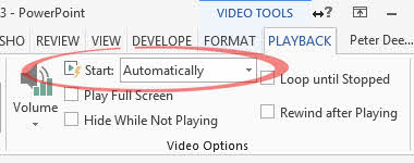 PPT Video Options - Start image from Videos in PowerPoint Kiosk mode at Office-Watch.com