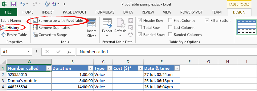 PivotTable%20 %20Table%20 %20Design - PivotTables: selecting and changing data sources