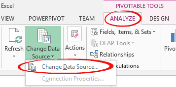 PivotTable%20 %20change%20data%20source - PivotTables: selecting and changing data sources