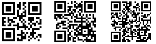 QR Codes of increasing complexity image from QR Codes in Word at Office-Watch.com