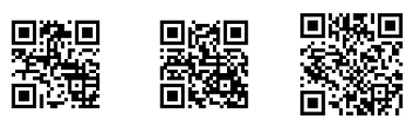 QR Codes of increasing error correction image from QR Codes in Word at Office-Watch.com