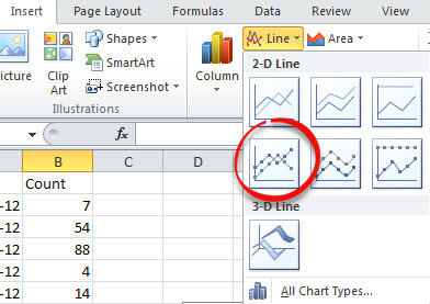 Regular date Chart choice image from Date formatted charts in Excel at Office-Watch.com