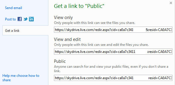 Skydrive%20 %20sharing%20folder%20 %20Get%20a%20linkl - Getting started with Skydrive