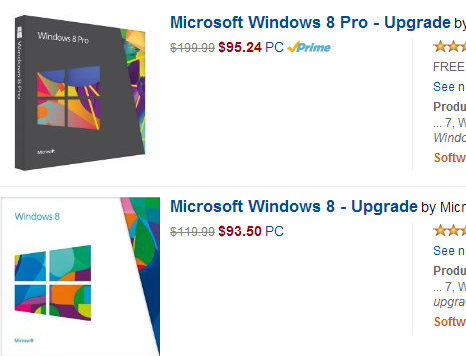 Win8 upgrade prices on Amazon Feb 2014 image from Windows 8 Pro upgrade for less than $2 extra at Office-Watch.com