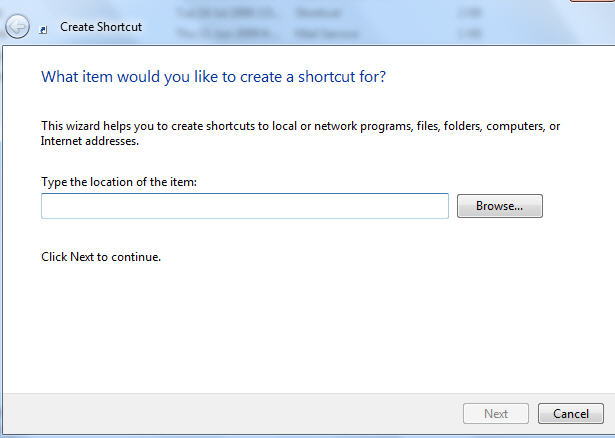 Windows - create shortcut wizard 1 image from Changing the 'Send To .. Mail Recipient' Windows command at Office-Watch.com