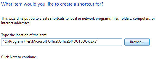 Windows - create shortcut wizard 2 image from Changing the 'Send To .. Mail Recipient' Windows command at Office-Watch.com
