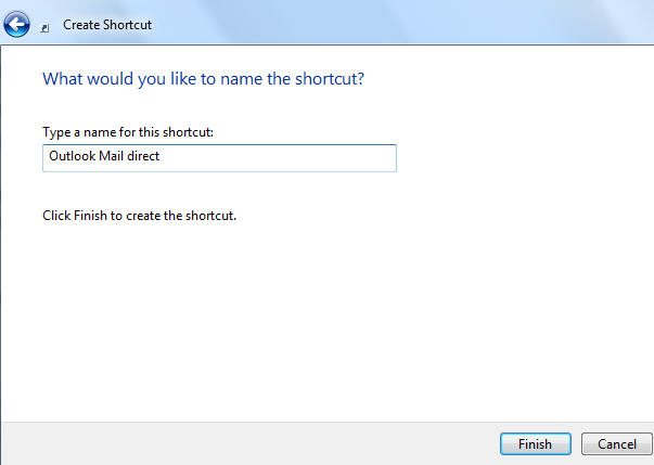 Windows - create shortcut wizard 4 image from Changing the 'Send To .. Mail Recipient' Windows command at Office-Watch.com