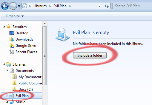 Windows%207%20 %20Empty%20library - Libraries by topic