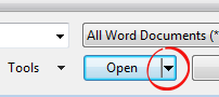 Word - Open button wedge image from New from existing document .. the alternatives at Office-Watch.com