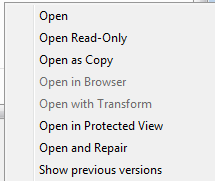 Word - extended Open menu options image from New from existing document .. the alternatives at Office-Watch.com