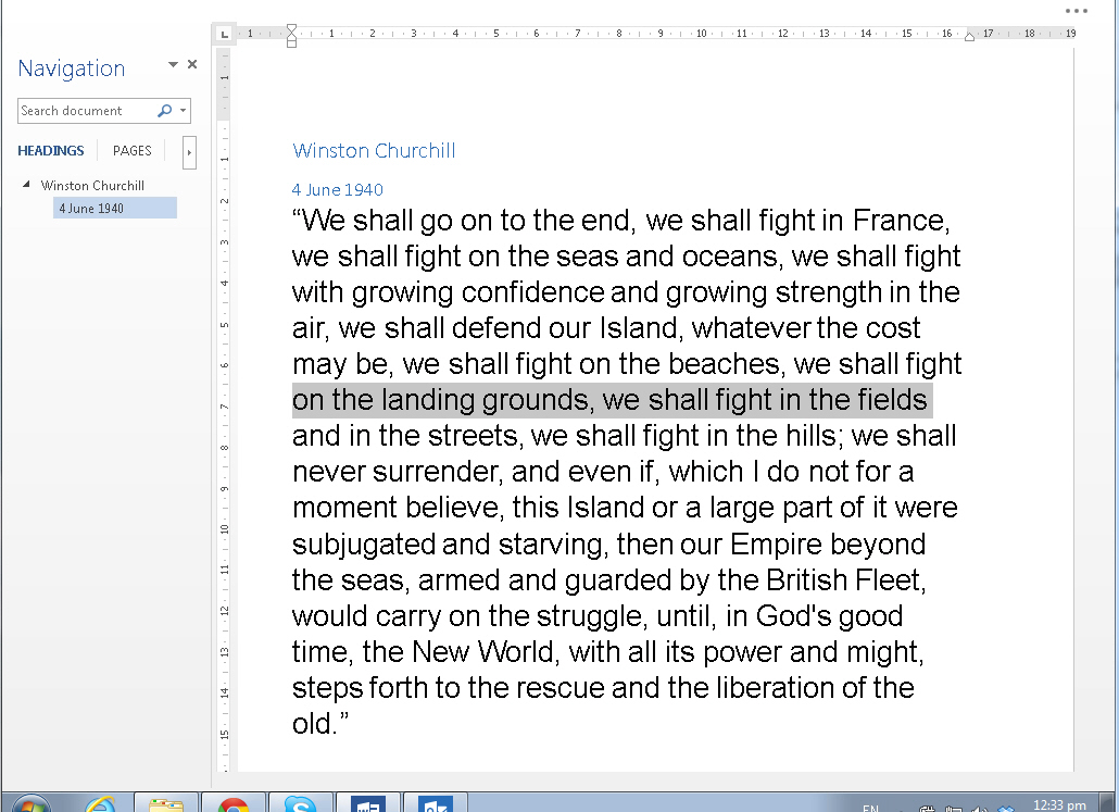 Word 2013 full screen view image from Full Screen View in Office 2013 at Office-Watch.com