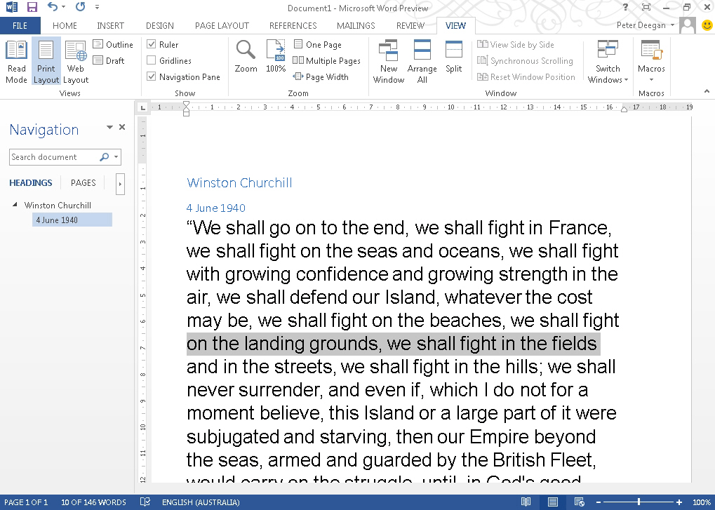 Word 2013 standard view image from Full Screen View in Office 2013 at Office-Watch.com