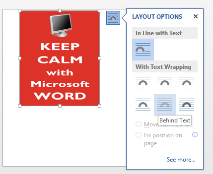 Word 2013 - image flyout menu image from Adding a background image to a Word page at Office-Watch.com