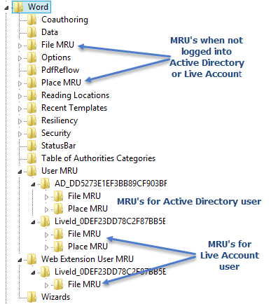 http://img.office-watch.com/ow/Word%202013%20Registry%20MRUs.png image from More privacy exposure in Office 2013 at Office-Watch.com