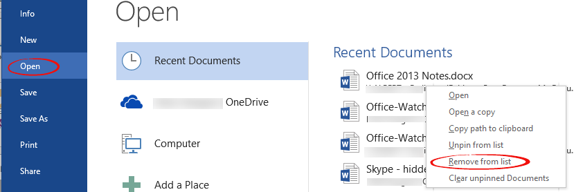 Word%202013%20Remove%20from%20List - Word 2013:  document details not deleted from the registry