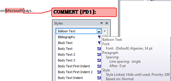 Word%20comment%20style%20example - Changing the look of Comment balloons in Word