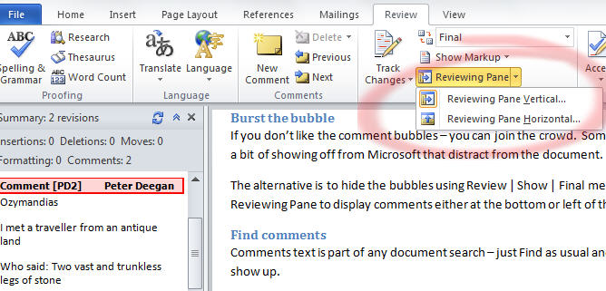 Word comments revewing pane image from One person Comments in Word at Office-Watch.com