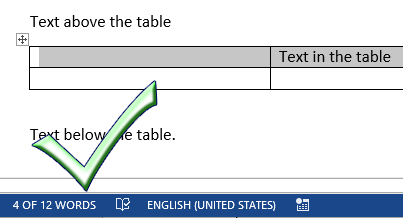 Word count in table image from Word Count / Table cell bug in Word at Office-Watch.com