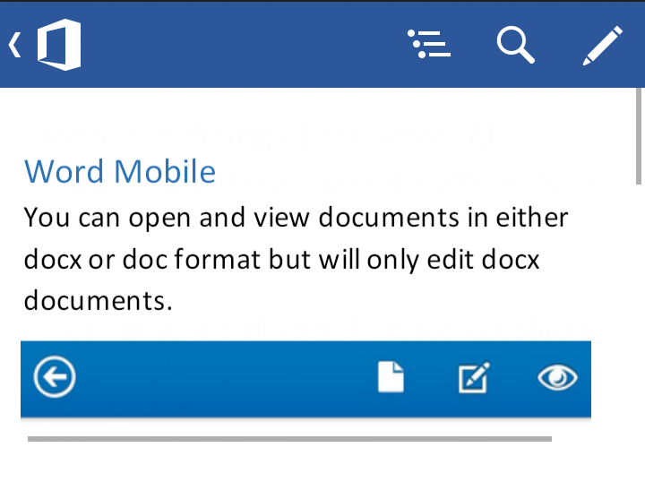 Word mobile for Android image from Word Mobile for Android at Office-Watch.com